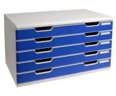 Exacompta Modula Classic 322003D - Cajonera (tamaño A3, 5 cajones), color azul y gris