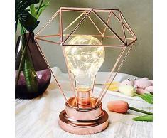 EONHUAYU Lámpara de Mesa Diamond Iron, Luz de la Noche del Bulbo de la Lámpara de la Mesita de Noche del Alambre del Hierro del Estilo Nórdico con la Iluminación Decorativa con Pilas