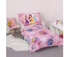 Disney Princesa Cama infantil, 4 piezas, color rosa
