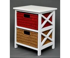 Cómoda mesa auxiliar de 45 cm de alto para niños, baño, pasillo color blanco con dos cestas en ratán mostaza y rojo