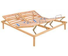 tgfm somier ortopédico de movimiento manual de láminas de madera de haya PURO con reguladores de rigidez dorsal levanta cabeza/pies francese 150x200