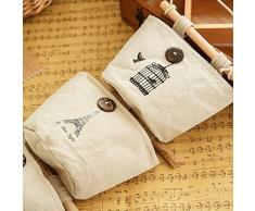 wjkuku Home lino/algodón tela de pared para puerta armario para colgar bolsa de almacenamiento caso 6 bolsillos organizador de Home puerta armario estilo nostálgico