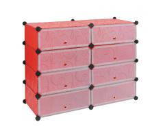 TS Ideen 5178 zapato para injerto, estante, pared Mueble de Salón, Rojo / Blanco Transparente