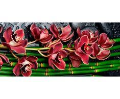 Cabecero Cama PVC Impresión Digital Flores Bambú Multicolor 150 x 60 cm | Disponible en Varias Medidas | Cabecero Ligero, Elegante, Resistente y Económico