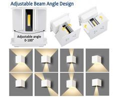2 Pcs 12W Lámpara de pared led blanco cálido 3000K moderno apliques pared interior/exterior IP65 Impermeable aplique pared