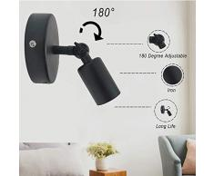 Apliques de pared de hierro de metal moderno, negro E27 Base Lámpara de lectura de luz de pared para sala de estar dormitorio cocina decoración