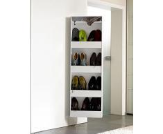 Dynamic24 - schuh-bert 600 giratoria espejo zapatero/armario zapatero con espejo color blanco