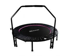 Apoyabrazos Cama elástica Mini trampolín de trampolín con manija Deportivo Equipo para Perder Peso Cama Plegable Plegable Cama de resortes (Color : Pink, Size : 48 Inch)