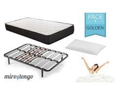 Pack Golden Descanso completo 90X190 (Colchon + somier multilaminas + patas + almohada)