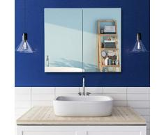 Relaxdays, 50 x 60 x 18 cm Armario con Espejo, para Pared, con Enchufe, Acero, Blanco, Metal y Vidrio
