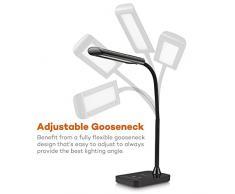 Lámpara LED de mesa TaoTronics, Lámpara de escritorio para lectura y protección de la vista (7 W, control táctil, 7 niveles de luminosidad, diseño de cuello de ganso) – Negro