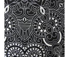 Just Contempo Juego de funda nórdica y funda de almohada, diseño de rayas y floral, algodón poliéster, negro, crema y gris, Double Duvet Cover