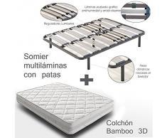 HOGAR24 - Somier multiláminas + bamboo, medidas 90x200