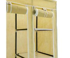 PrimeMatik - Armario ropero guardarropa de Tela Desmontable 110 x 45 x 175 cm Beige Doble con Puertas enrollables