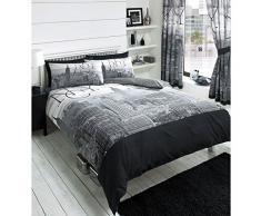 Just Contempo - Juego de funda nórdica y funda de almohada reversible, diseño Nueva York, en blanco y negro, mezcla de algodón, negro, funda de edredón doble King size
