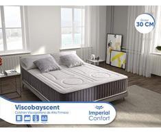 Imperial Confort ViscoBayscent Colchón Visco Grafeno 30 cm Grosor, Alta firmeza, Transpirable, 90 x 190 cm, Espuma viscoelástica, Sencillo