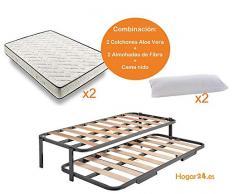 HOGAR24 ES.es-Cama Nido Estructura Reforzada Doble Barra Superior (4 Patas) + 2 Flexitex + 2 Almohadas de Fibra, 80x180cm