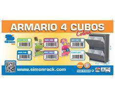 SimonRack SI1527 Armario 4 Cubos, Blanco y Azul, 920 x 630 x 250 mm