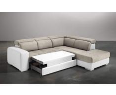 Dafnedesign.Com - Sofá Cama esquinero de 3 plazas con Chaise Longue a la Derecha Piel sintética de Color Blanco, Efecto Nabuk Light Grey (cm. 266 x 230 x 94 cm.