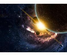 Cabecero Cama Planetas sobre las nebulosas en el espacio Madera 100x100cm | Diponible en Varias Medidas | Cabecero Ligero, Elegante, Resistente y Económico