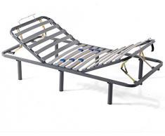 MIVIS - Somier de acero articulado manual multilaminas de abedul, tamaño 150 / 190 cm, color gris
