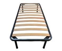 Napoleone único - Somier de hierro y láminas de haya para colchón ortopédico, 80 x 190 cm