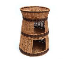 Tres niveles mimbre mascotas cama casa cesta