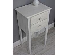 Beige mesa mesa auxiliar mesita de noche blanco estilo rústico de madera mesa de teléfono de madera
