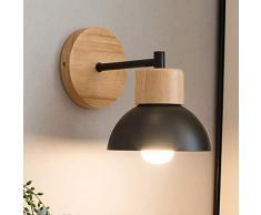 Mengjay Moderna Creativo de Madera Apliques de Pared, Lámpara de Decoración Vintage Lámpara de pared de Montaje en pared Lámpara de Cabecera de Luz de Lectura para Dormitorio Salón (Negro)