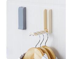 Suspensión de ropa plegable de la puerta,Plegable puerta trasera espacio guardar ropa percha gancho rack para cuarto de baño LMMVP (Beige, se muestra como en las imágenes)
