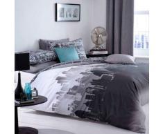 Catherine Lansfield Landscape City - Juego de cama, Multicolor, (135cmx200cm, 1 funda de almohada de 50cmx75cm)