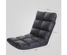 Puffs pera Silla de Respaldo Plegable Silla Lounger Sofá Cama de Dormitorio Individual Silla de computadora Cuero (Color : Negro)