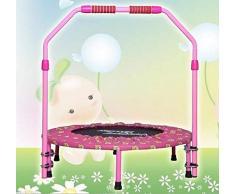 KaiKai 40 Pulgadas Plegable Bandas elásticas Gimnasia Trampolín Cama elástica despide con reposabrazos Ajustable, Equipo de la Aptitud (Color : Pink)