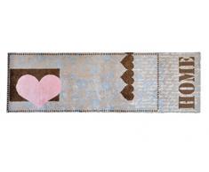 Alfombrilla LifeStyle 100482 Corazón de amor Home, alfombra antideslizante y lavable, ideal para el armario, la cocina o el dormitorio, 50 x 150 cm, marrón / rosa