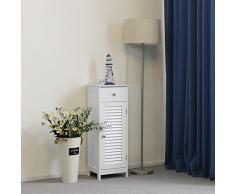 VASAGLE BBC43WT - Armario de Madera para Cuarto de baño, con cajón, Puerta de láminas, Color Blanco, 32 x 87 x 30 cm
