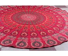 Bhagyoday Fashions - Alfombra india redonda, hippie, para colgar en la pared, decoración bohemia para dormitorio, de algodón, 1,77 m de Bhagyoday