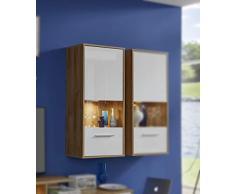 Trendteam Mueble, Vitrina roble antiguo, Korpus Alteiche Dekor, Blanco brillante, 50 x 112 x 125 cm