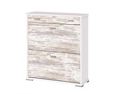 Pelayo Mobles 2205 B/V - Zapatero, madera, color blanco y vintage, 76x26x84.5 cm
