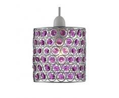 Lighting Collection 700047 - Lámpara de techo colgante (60 W, no electrificada), color cromo y morado