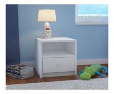 Children's Beds Home Mesita de Noche para niños Babydreams para niños, niños, Junior (Blanco, 40x40x30)