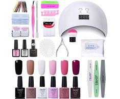 Elite99 Lámpara UV LED para Uñas 24w, Kt de Esmaltes Semipermanentes en Gel UV LED, Base y Top Coat, Removedor de Uñas 001