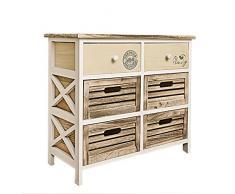 Cómoda REBECCA FAMILY con 2 cajones beige con estampado decorativo y 4 cajones de madera clara de estilo vintage (Cod. RE4339)