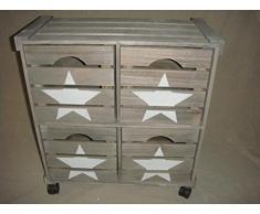DonRegaloWeb - Cajonera - Guardatodo - Verdulero de madera estilo rústico con estrella en color madera grisácea con ruedas