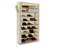 Relaxdays Valentin - Zapatero, estructura de acero, cubierta de tela, medidas 161 x 88 x 30 cm, hasta 10 pisos sin la funda, hasta 45 pares de zapatos, libre de polvo, color beige
