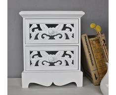 elbmöbel.de - Cómoda (madera, tamaño pequeño), diseño vintage, color blanco