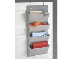 InterDesign Aldo - soporte de pared o puerta de armario, de tela, para almacenamiento, organizador para bolsos, juguetes, ropa de bebé/niños – 4 bolsillos, gris