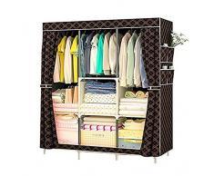 Armario no tejido | Persiana enrollable | gabinete de almacenamiento de ropa para el hogar a prueba de polvo | 3 rieles colgantes 4 estantes de almacenamiento | duradero y desmontable (106x45x158cm)