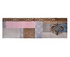 Alfombrilla LifeStyle 101076 Barroco, felpudo antideslizante y lavable, ideal para el armario, la cocina o el dormitorio, 50 x 150 cm, marrón / rosa