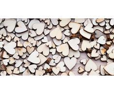 Cabecero Cama Cartón Ecológico Corazones de Madera | Varias Medidas 150x60cm | Fácil colocación | Decoración Habitación | Motivos paisajísticos | Naturaleza | Urbes Diseño Elegante