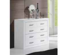 Dogar Kynus- lacado - Comoda con 4 cajones, 80 x 95 x 40 cm, madera, color blanco